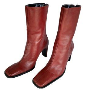 women's nine west red leather boots vintage size 6